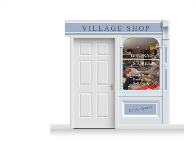 2-Drop Taunton Shop Front 'Village Shop' Mural (240cm)