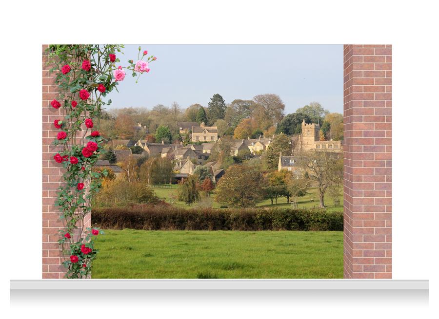 3 drop scenic mural cotswolds village 240cm for Mural village