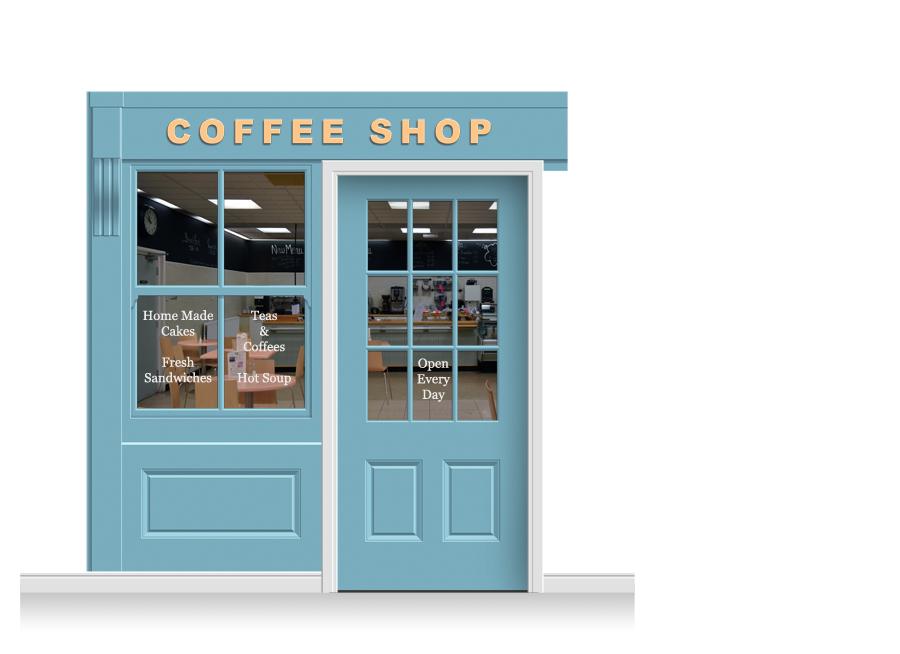 sc 1 st  Care Home Murals & 2-Drop Leamington Shop Front \u0027Coffee Shop\u0027 Mural (240cm) + Door Print