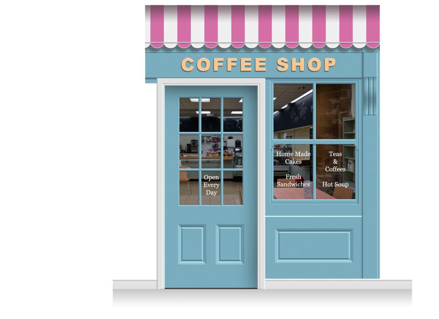sc 1 st  Care Home Murals & 2-Drop Leamington Shop Front u0027Coffee Shopu0027 Mural (280cm) + Door Print