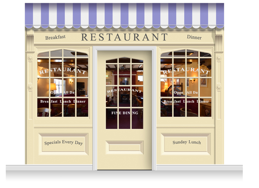 3 Drop Skipton Shop Front Restaurant Mural 280cm Door Print