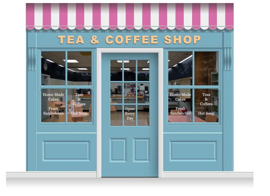 3 drop leamington shop front 39 tea coffee shop 39 mural for Mural coffee shop