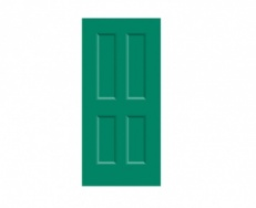 4 Panel Victorian Door Print - Emerald Green
