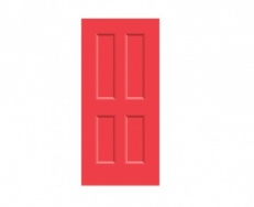 4 Panel Victorian Door Print - Poppy Red
