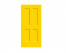 4 Panel Victorian Door Print - Primrose Yellow