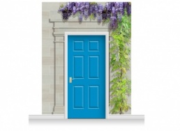 3-Drop Carlisle Door Set Mural (280cm) with Wistaria + Door Print