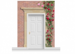 3-Drop Darlington Door Set Mural (280cm) with Roses