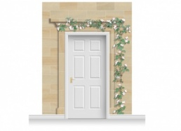 3-Drop Dartford Door Set Mural (280cm) with Clematis