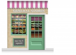 2-Drop Blackburn Shop Front 'General Stores' Mural (280cm) + Door Print