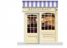 2-Drop Skipton Shop Front 'Restaurant' Mural (280cm) + Door Print