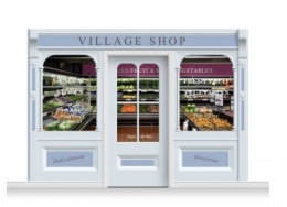 3-Drop Taunton Shop Front 'Village Shop' Mural (240cm) + Door Print
