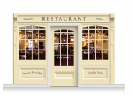3-Drop Skipton Shop Front 'Restaurant' Mural (240cm) + Door Print