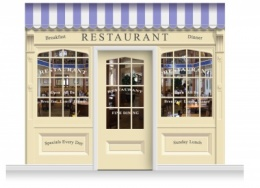 3-Drop Skipton Shop Front 'Restaurant' Mural (280cm) + Door Print