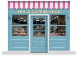 3-Drop Leamington Shop Front 'Tea & Coffee Shop' Mural (280cm) + Door Print