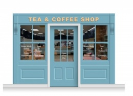 3-Drop Leamington Shop Front 'Tea & Coffee Shop' Mural (240cm) + Door Print
