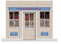 3-Drop Durham Shop Front 'Red Lion Pub' Mural (280cm) + Door Print