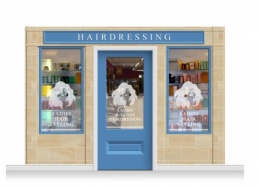 3-Drop Cheltenham Shop Front 'Hairdresser' Mural (240cm) + Door Print