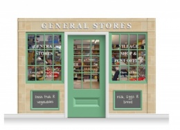 3-Drop Blackburn Shop Front 'General Stores' Mural (240cm) + Door Print