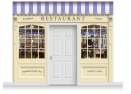 3-Drop Skipton Shop Front 'Restaurant' Mural (280cm)