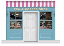 3-Drop Leamington Shop Front 'Tea & Coffee Shop' Mural (280cm)