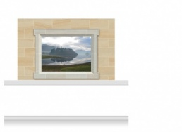 2-Drop Window Frame Mural - Lake at Dusk (150cm)