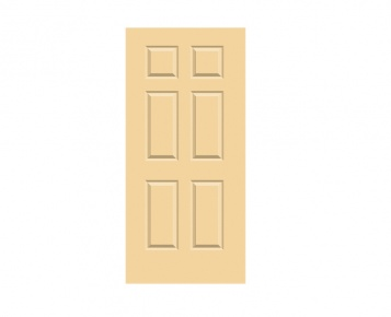 6 Panel Georgian Door Print - Buttermilk