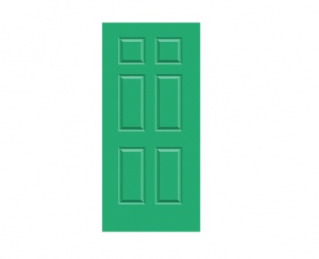 6 Panel Georgian Door Print - Garland Green