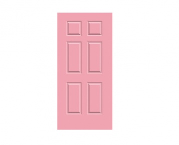 6 Panel Georgian Door Print - Lupin Pink