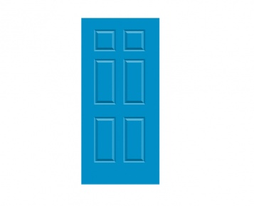 6 Panel Georgian Door Print - Regatta Blue