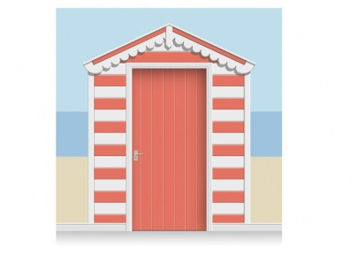 3-Drop Azalea and White Beach Hut Mural (257cm) + Door Print