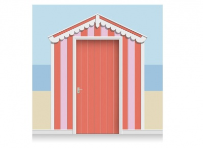 3-Drop Azalea and Rose Pink Beach Hut Mural (257cm) + Door Print