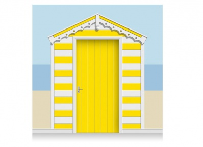3-Drop Banana Yellow and White Beach Hut Mural (257cm) + Door Print