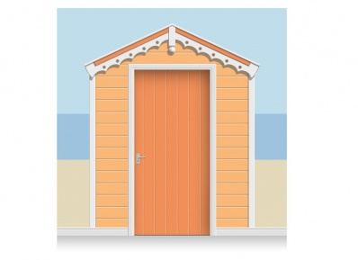 3-Drop Tangerine and White Beach Hut Mural (257cm) + Door Print