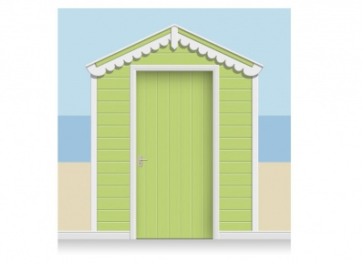 3-Drop Leaf Green Beach Hut Mural (257cm) + Door Print