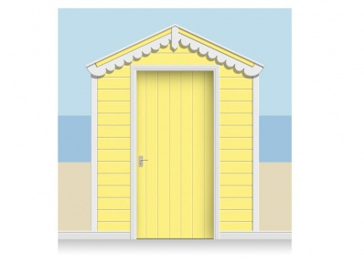 3-Drop Lemon Yellow Beach Hut Mural (257cm) + Door Print