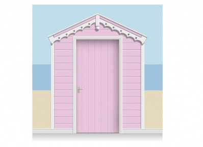 3-Drop Rose Pink Beach Hut Mural (257cm) + Door Print