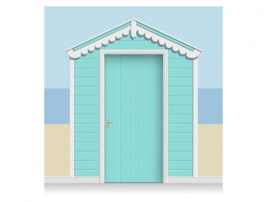 3-Drop Sea Blue Beach Hut Mural (257cm) + Door Print