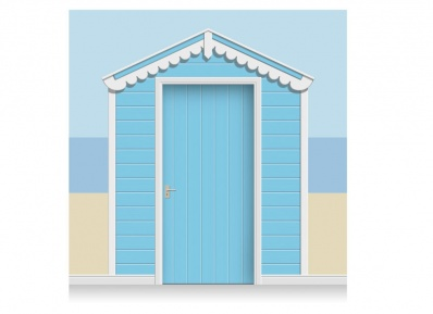 3-Drop Sky Blue Beach Hut Mural (257cm) + Door Print