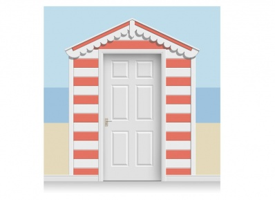 3-Drop Azalea and White Beach Hut Mural (257cm)