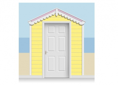 3-Drop Lemon Yellow and Rose Pink Beach Hut Mural (257cm)