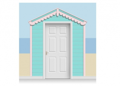 3-Drop Sea Blue and Pale Pink Beach Hut Mural (257cm)