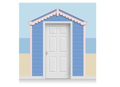 3-Drop Sunset Blue and Pale Pink Beach Hut Mural (257cm)