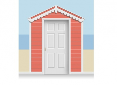 3-Drop Azalea Red Beach Hut Mural (257cm)