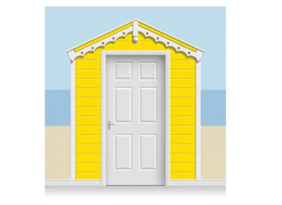3-Drop Banana Yellow Beach Hut Mural (257cm)