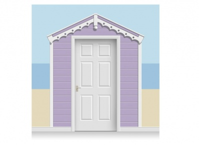 3-Drop Lavender Beach Hut Mural (257cm)