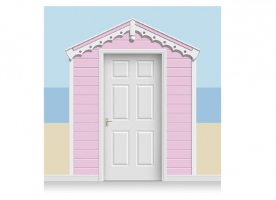 3-Drop Rose Pink Beach Hut Mural (257cm)