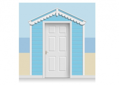 3-Drop Sky Blue Beach Hut Mural (257cm)