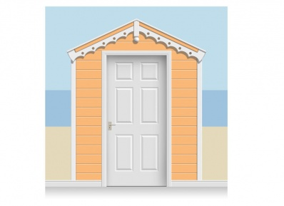 3-Drop Tangerine Beach Hut Mural (257cm)