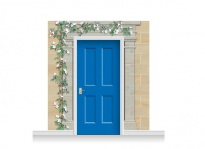 3-Drop Cambridge Door Set Mural (240cm) with Clematis + Door Print