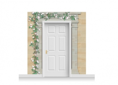 3-Drop Cambridge Door Set Mural (240cm) with Clematis